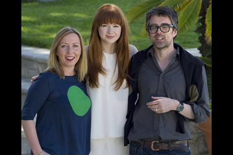 Karen Gillan with Not Another Happy Ending producer Claire Mundell and director John McKay